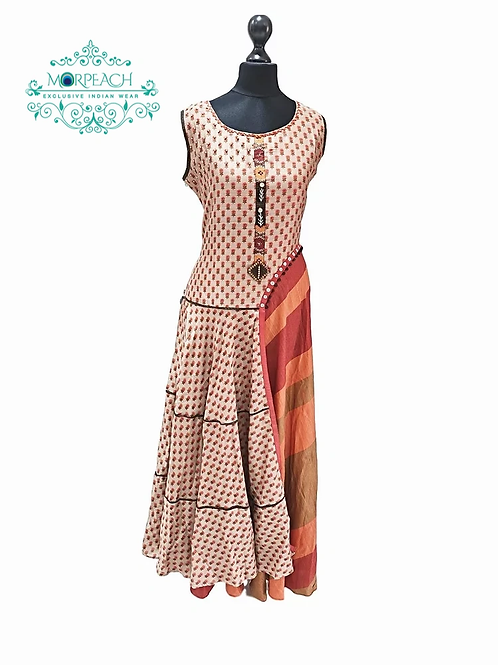 Brown Half Half Stylish Kurti (4XL)