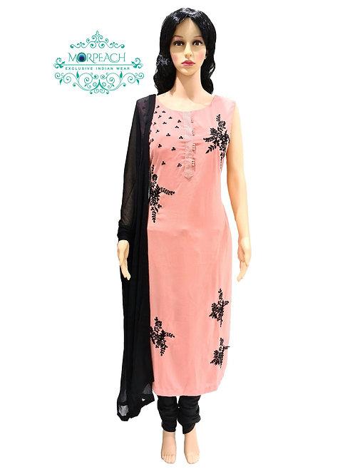 Dusty Peach And Black Straight Dress (XL)