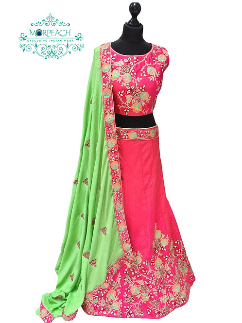 Peach and Green Silk Lehenga (Reg)
