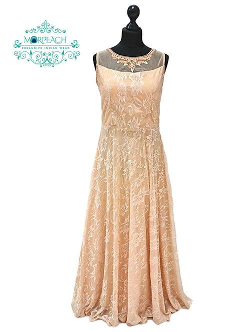 Ultra Soft Net Peach Partywear Gown (XL)