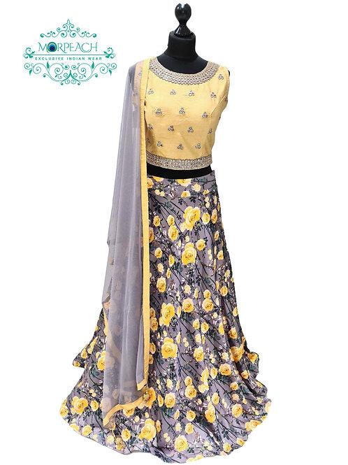 Grey Yellow Floral Silk Lehenga (Reg)