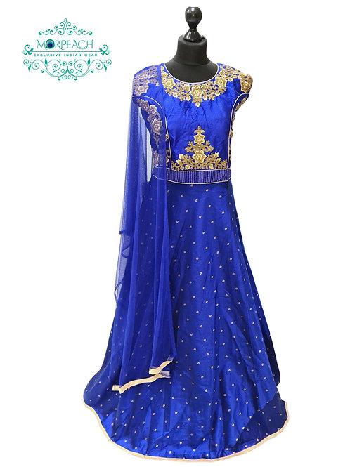 Blue Self Print Silk Dress (2XL)