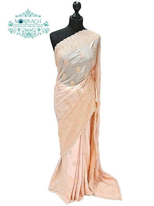 Peach Shimmer Pastel Chiffon Saree