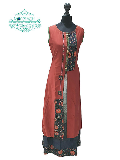 Brown Layered Kurti (4XL)