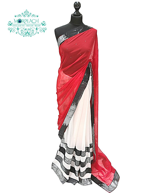 Red And White Sequence Saree