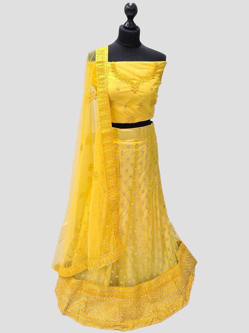 Yellow Semi Stitched Net Lehenga (4XL)