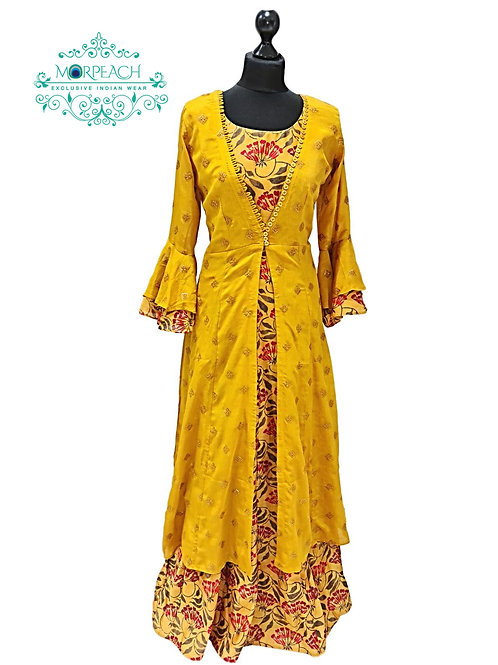 Mustard Seperate Jacket Floral Gown