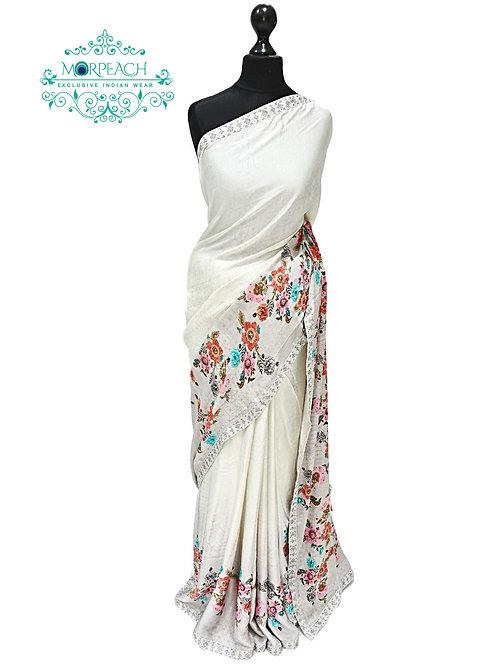Off White Floral Satin Silk Saree