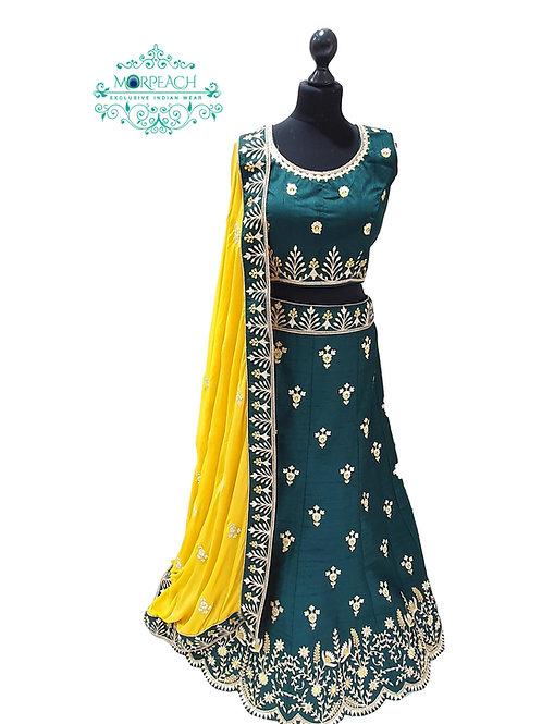 Green and Yellow Silk Lehenga (R)