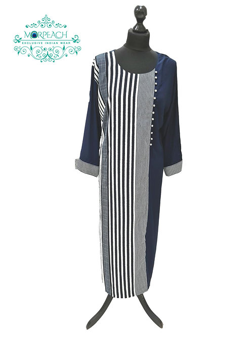 Blue And White Straight Rayon Kurti
