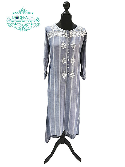 Grey And White Rayon Kurti