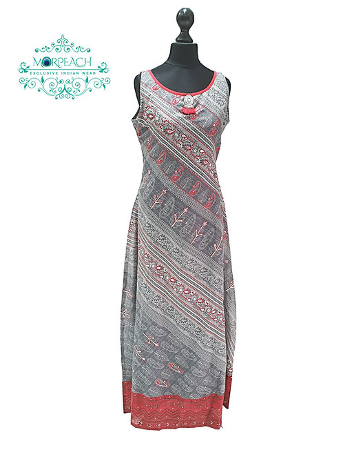 Grey And Red Long Kurti (XL)