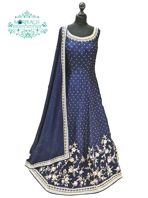 Blue Diamond Embedded Heavy Gown