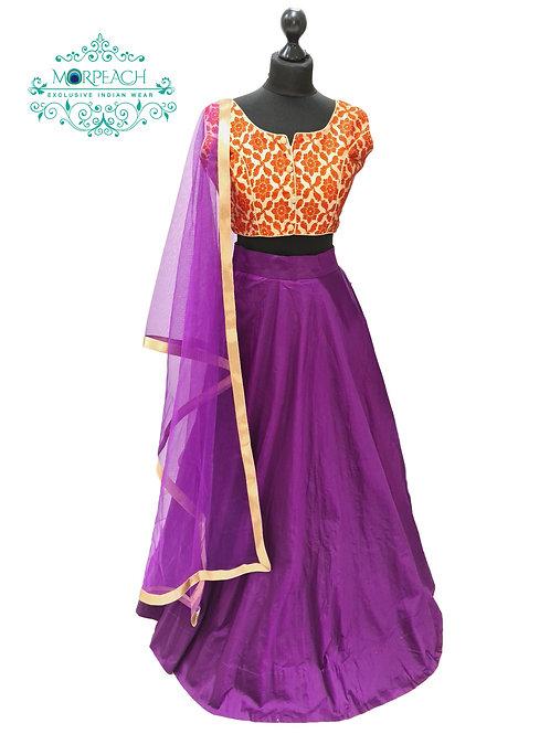 Purple And Orange Silk Lehenga (Reg)