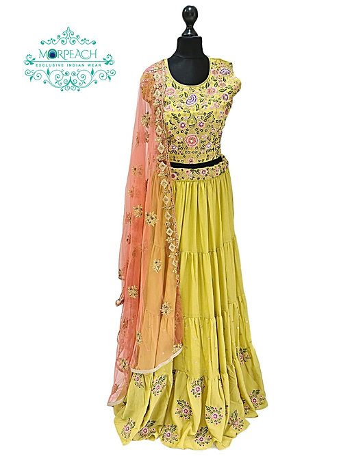 Yellow Thread Work Frilled Lehenga (Reg)