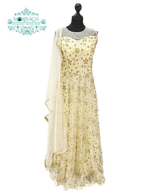 Shimmery Beaded  Net Cream Gown