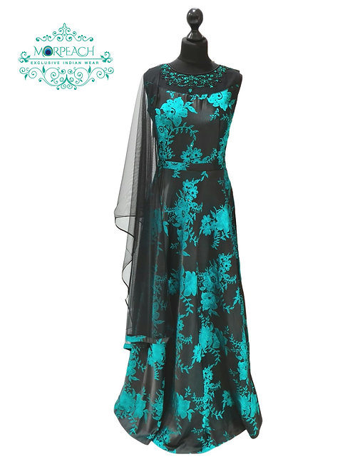 Black And Turquoise Silk Gown