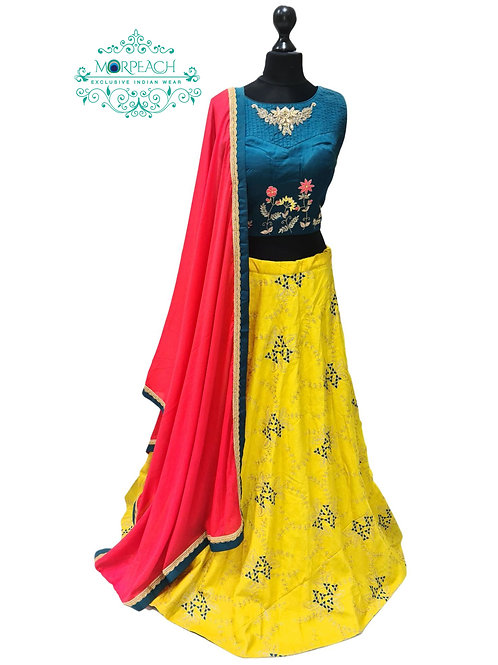 Yellow & Morpeach Silk Lehenga (Reg)