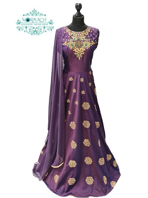 Purple And Gold Silk Dress (XL)