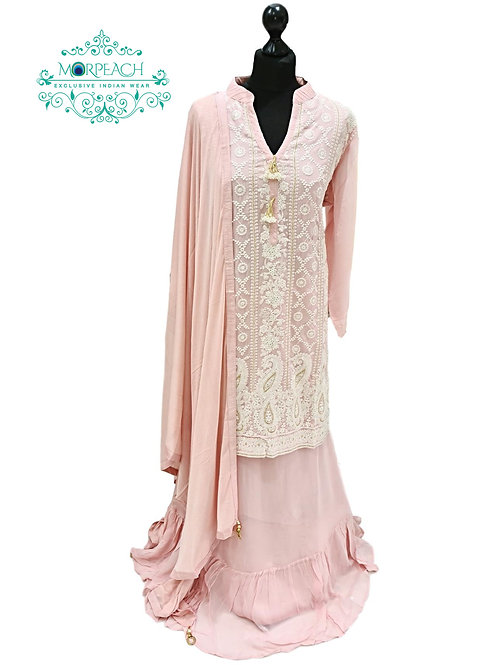 Baby Pink Lucknowi Long Top Lehenga
