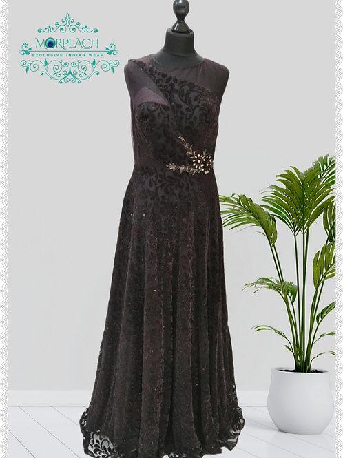 Brown Shimmer Net Velvet Gown (R)
