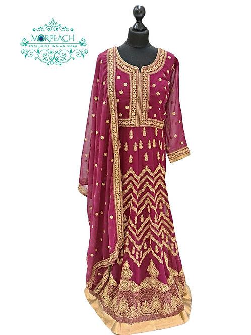 Maroon Embroidered Chiffon Dress (3XL)