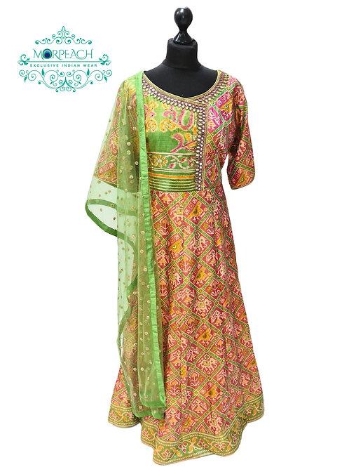 Patola Designed Silk Dress With Plazzo (2XL)