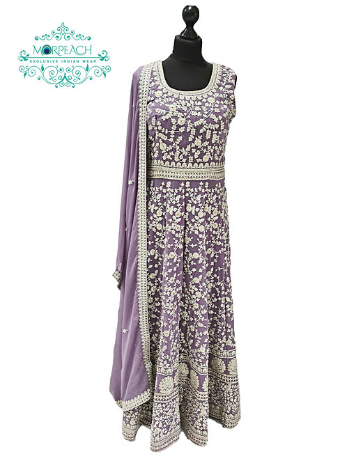 Lilac Chiffon Heavy Embroidered Gown (R)