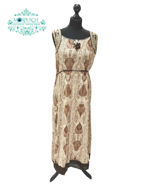 Brown Semi Flared Rayon Kurti