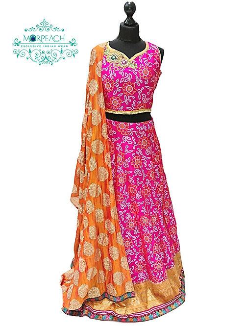 Pink Bandhni Print Silk Lehenga