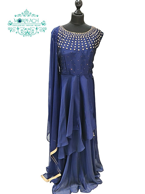 Blue Beaded Layered Dress (3XL)