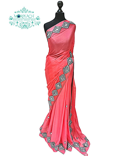 Peach Mirrorwork Border Saree
