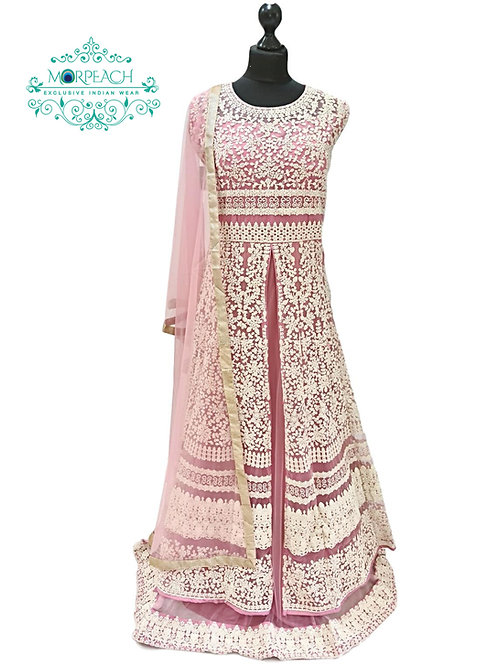 Pink Heavy Embroidered Layered Gown (2XL)