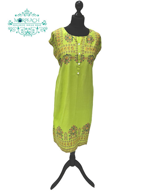 Lime Green Short Cotton Kurti