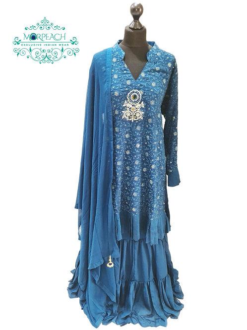 Morpeach Blue Embroidered Gharara (4XL)