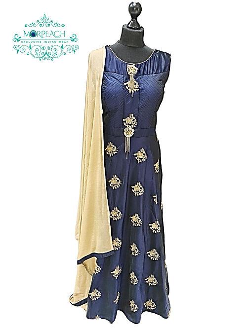 Navy Blue Gold Butta Dress (3XL)