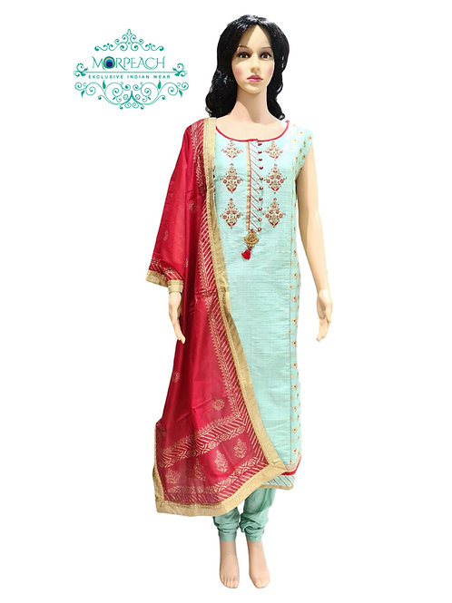 Green & Red Straight Cut Dress (5XL)