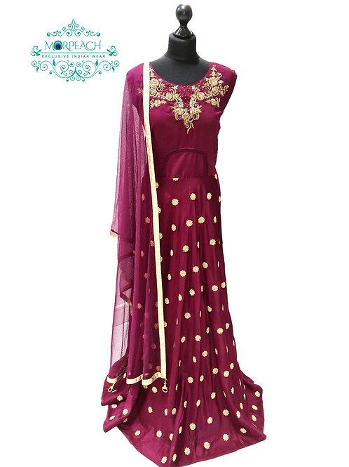 Maroon Gold Butti Silk Dress (2XL)