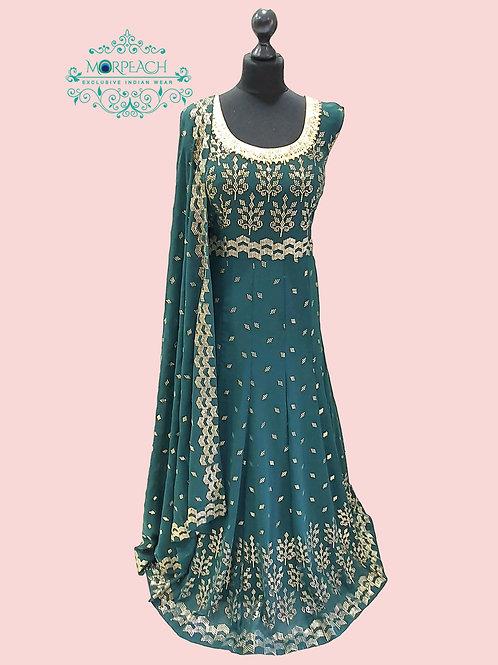 Dark Green Gold Embossed Sequence Dress (5XL)