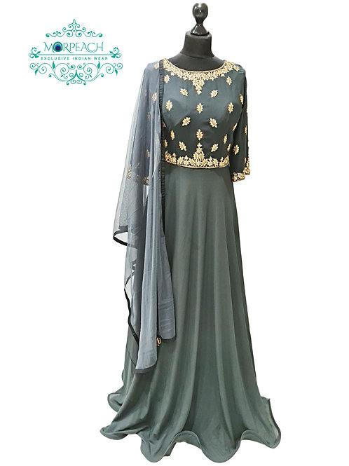 Grey Flared Georgette Gown (XL)