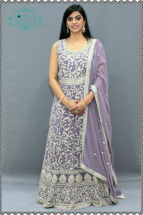 Lilac Chiffon Heavy Embroidered Gown (2XL)