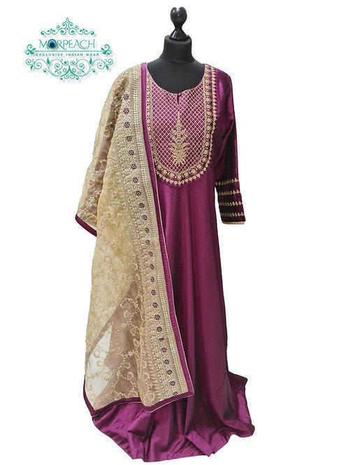 Purple A-Line Heavy Dupatta Dress (4XL)