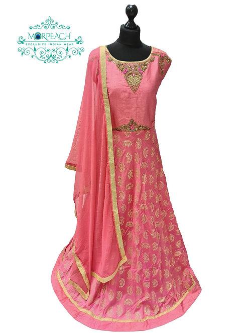 Peach and Gold Silk Dress (3XL)