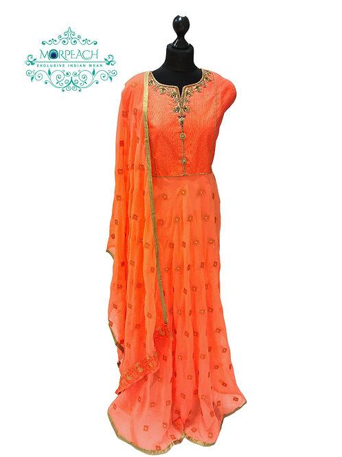 Orange Chiffon Dress (3XL)