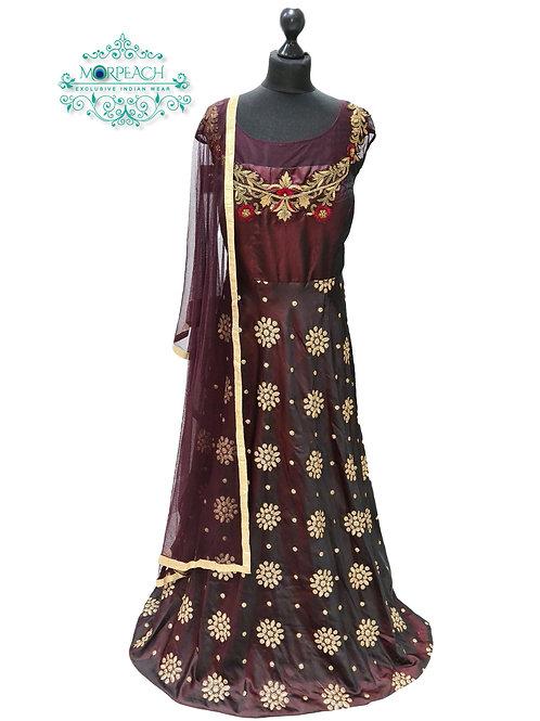 Maroon Buttawork Silk Dress (5XL)