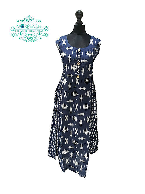 Blue Medium Flared Cotton Kurti (M)