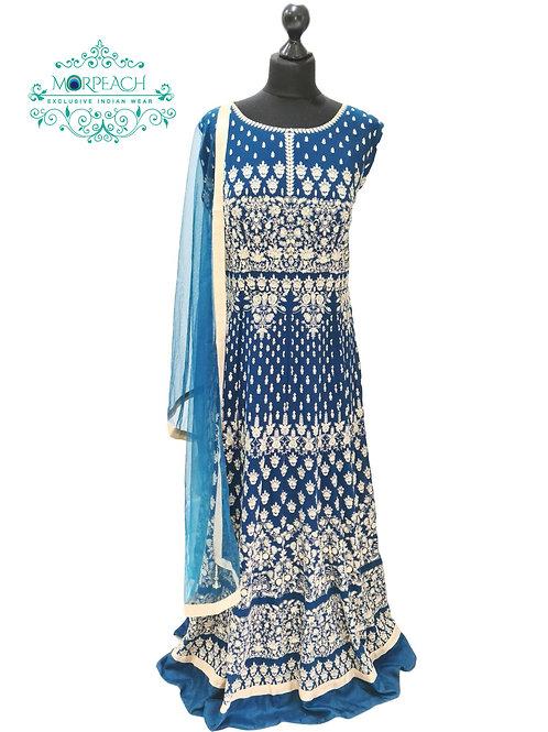 Morpeach Blue Heavy Threadwork Dress