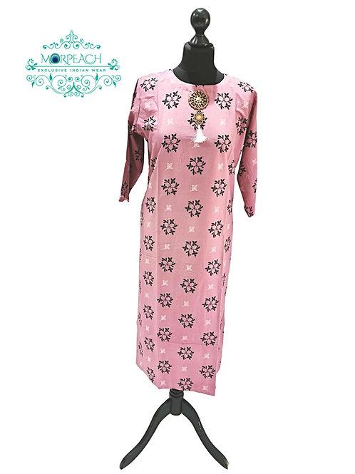Pink Printed Straight Kurti (3XL)