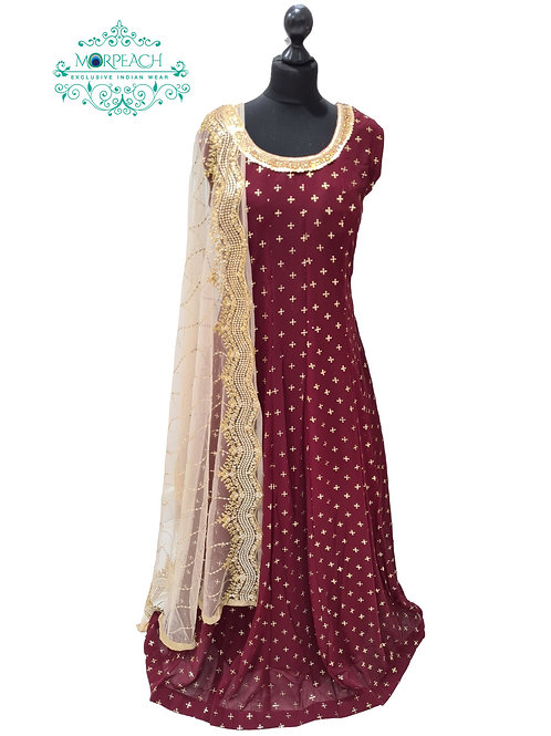 Maroon Gold Sequence Embossed Dress (5XL)