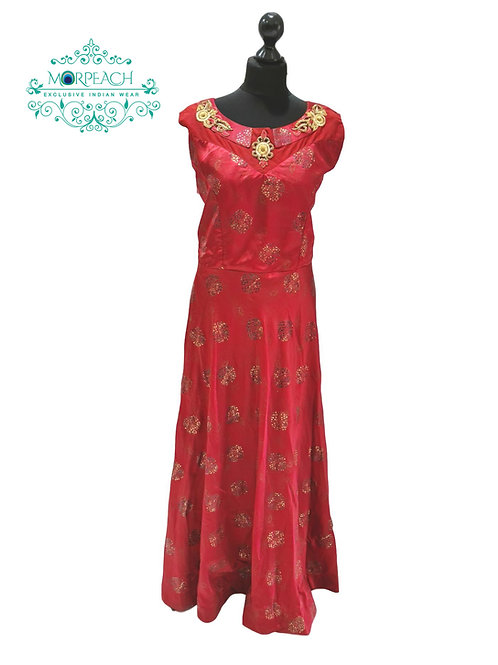 Red Foil Printed Silk Kurti (4XL)